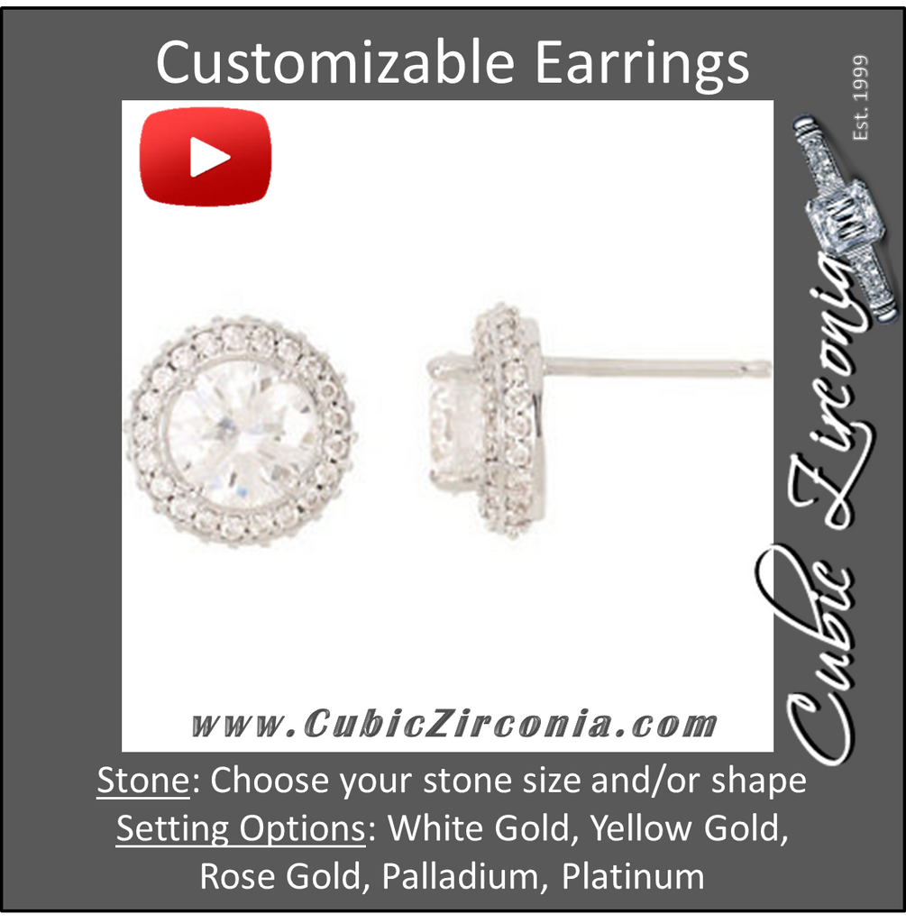 Cubic Zirconia Earrings- Customizable Round Halo Entourage with Round CZ Earring Set