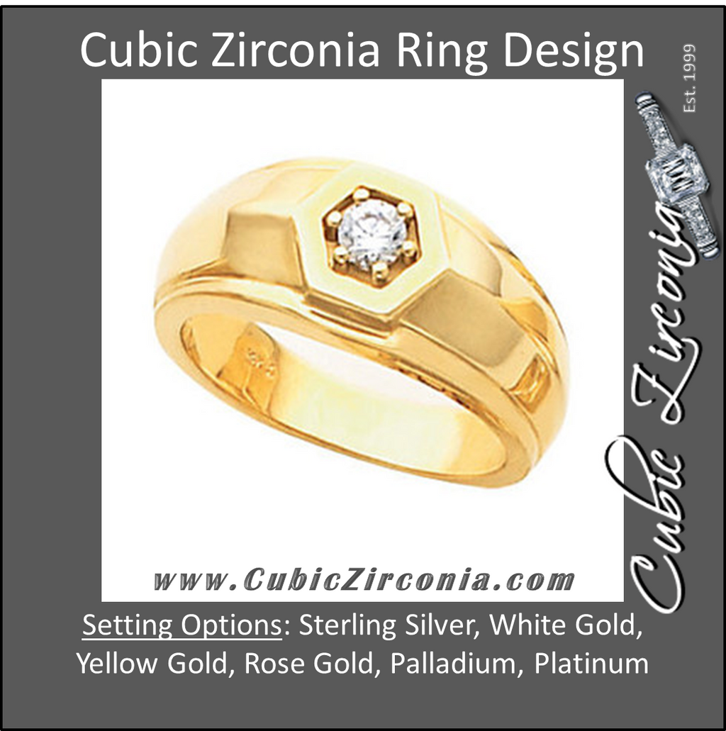 Cubic Zirconia Men's Wedding Band – The Benny Binion Ring (0.5 TCW Solitaire)