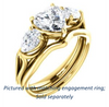 Cubic Zirconia Engagement Ring- The Ila (Customizable 3-stone Design with Heart Cut Center, Pear Accents and Split Band)