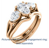 Cubic Zirconia Engagement Ring- The Ila (Customizable 3-stone Design with Pear Cut Center, Pear Accents and Split Band)