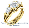 Cubic Zirconia Engagement Ring- The Ila (Customizable 3-stone Design with Round Cut Center, Pear Accents and Split Band)