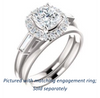 Cubic Zirconia Engagement Ring- The Azariah (Customizable Cathedral Cushion Cut Design with Halo and Straight Baguettes)