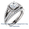 Cubic Zirconia Engagement Ring- The Azul (Customizable Asscher Cut Style with Cathedral-Halo and Split-Pavé Band)
