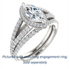 Cubic Zirconia Engagement Ring- The Azul (Customizable Marquise Cut Style with Cathedral-Halo and Split-Pavé Band)