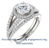 Cubic Zirconia Engagement Ring- The Azul (Customizable Round Cut Style with Cathedral-Halo and Split-Pavé Band)