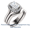 Cubic Zirconia Engagement Ring- The Bebi (Customizable Cathedral-Halo Emerald Cut Design with Wide Split Band)