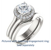 Cubic Zirconia Engagement Ring- The Bebi (Customizable Cathedral-Halo Round Cut Design with Wide Split Band)
