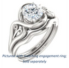 Cubic Zirconia Engagement Ring- The Bentley (Customizable Round Cut Solitaire with Wide Tapered Band and Side Engraving Motif)