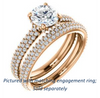 Cubic Zirconia Engagement Ring- The Fatima (Customizable Round Cut Center with Triple Pavé Band)