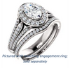 Cubic Zirconia Engagement Ring- The Frannie (Customizable Oval Cut Style with Halo and Tri-Split Pavé Band)