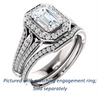 Cubic Zirconia Engagement Ring- The Frannie (Customizable Radiant Cut Style with Halo and Tri-Split Pavé Band)