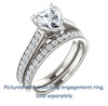 Cubic Zirconia Engagement Ring- The Jamiyah (Customizable Heart Cut Design with Decorative Trellis Engraving and Pavé Band)