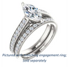 Cubic Zirconia Engagement Ring- The Jamiyah (Customizable Marquise Cut Design with Decorative Trellis Engraving and Pavé Band)