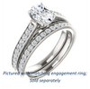 Cubic Zirconia Engagement Ring- The Jamiyah (Customizable Oval Cut Design with Decorative Trellis Engraving and Pavé Band)