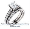 Cubic Zirconia Engagement Ring- The Jamiyah (Customizable Princess Cut Design with Decorative Trellis Engraving and Pavé Band)
