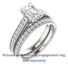 Cubic Zirconia Engagement Ring- The Jamiyah (Customizable Radiant Cut Design with Decorative Trellis Engraving and Pavé Band)