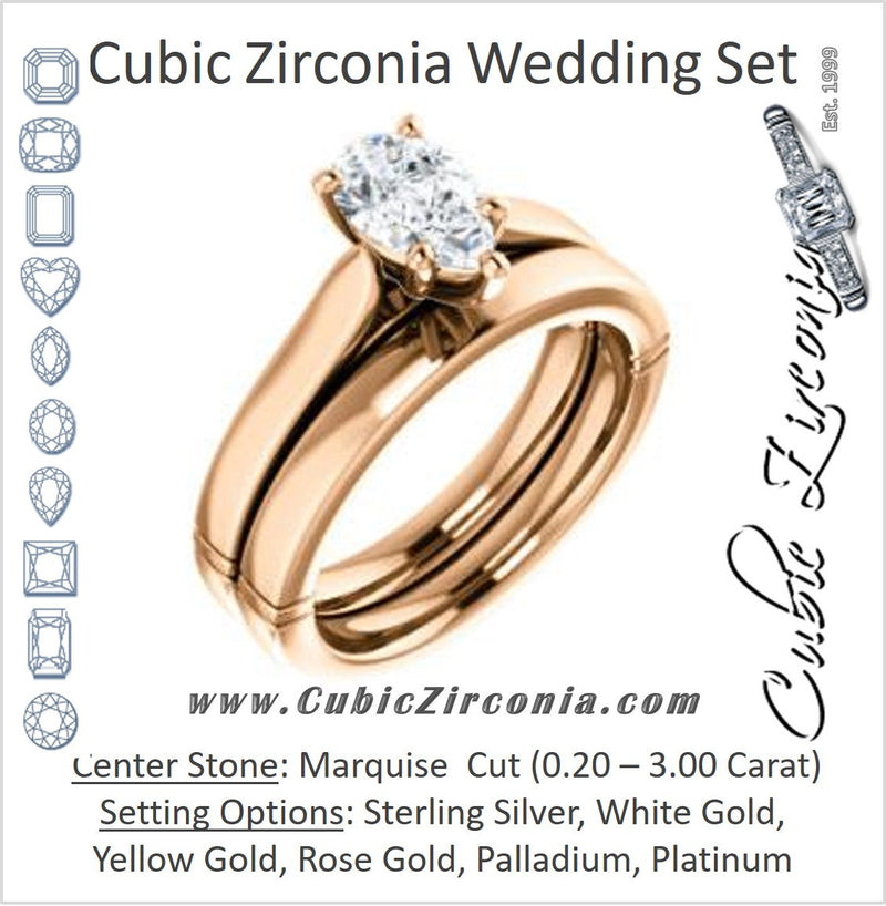 CZ Wedding Set, featuring The Kaela engagement ring (Customizable Pear Cut Solitaire with Stackable Band)