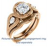 Cubic Zirconia Engagement Ring- The Nainika (Customizable 3-stone Cushion Cut Design with Pear Accents and Filigreed Split Band)