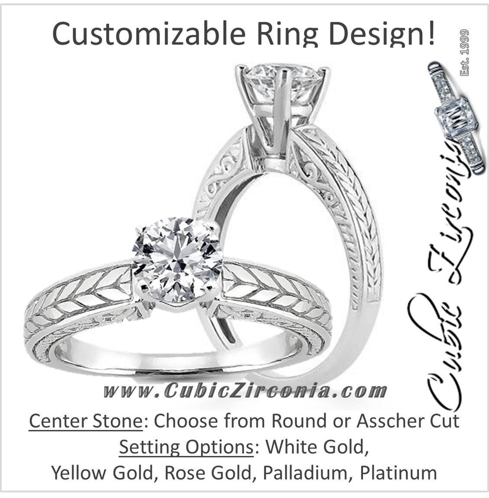 "Cubic Zirconia Engagement Ring- The ________ Naming Rights 17-56 (Round Solitaire with ""Tea Leaf"" Hand-Engraved Band)"