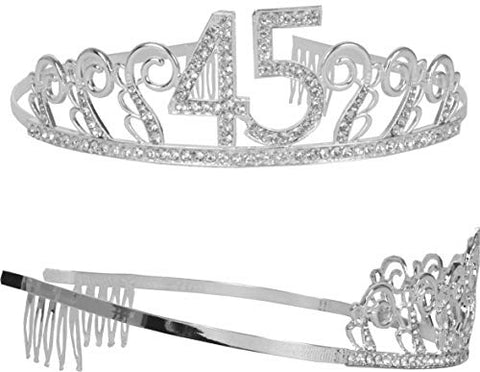 45Th Birthday Tiara And Sash, Happy 45Th Birthday Party Supplies, 45 &Amp
