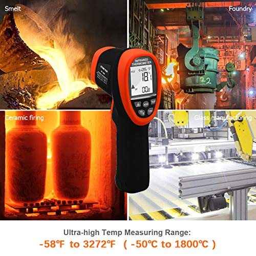 Btmeter Bt-1800 Laser Thermometer Gun -58 F To 3272F Pyrometer Infrared  Thermometer, Ds 50:1 Non Contact Circular Ir High Temp Tester With Backlit
