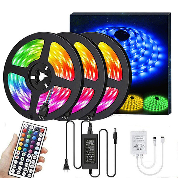 50ft RGB LED Strip Lights Kit, RGB LED Light Strip 5050 LED Tape Lights, Color Changing LED Strip Lights with Remote for Home Lighting Kitchen Bed Flexible Strip Lights for Bar Home Decoration