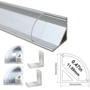 iCreating Corner Mount LED Aluminum Channel for LED Strips With Curved Lens, Compatible with PCB Width within 12mm