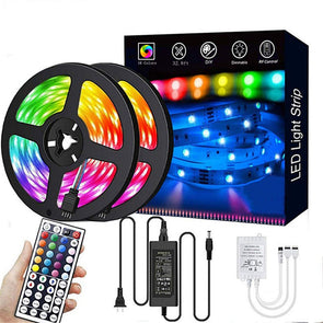 32.8ft RGB LED Strip Lights Kit, RGB LED Light Strip 5050 LED Tape Lights, Color Changing LED Strip Lights with Remote for Home Lighting Kitchen Bed Flexible Strip Lights for Bar Home Decoration