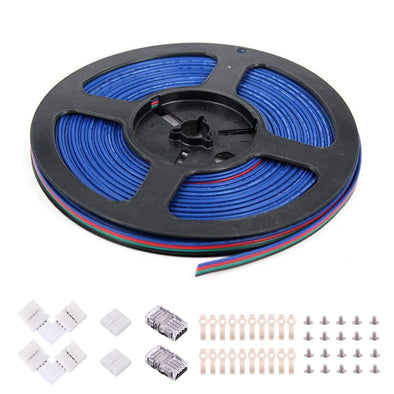 4Pin RGB Wire Extension Kit - include 16.4FT RGB Extension Cable Wire Cord, 2x Quick Wire to Strip Connector, 2x L Shape LED Strip Light Connectors, 2x Gapless LED Light Strip Connector, 20x LED Strip