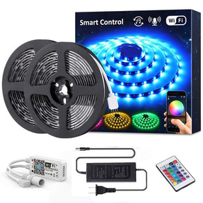 32.8ft Smart WiFi RGB LED Strip Light Kit, Alexa Wireless Flexible Color Changing 5050 LED Tape Light with Remote, Waterproof RF Remote 12V Dimmable LED Rope Light, Compatible with Google Assistant