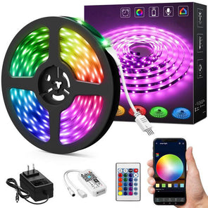 16.4ft WiFi Smart RGB LED Strip Light Kit, Alexa Wireless Flexible Color Changing 5050 LEDs Light Tape with Remote, Waterproof RF Remote 12V Dimmable Lighting Strips, Compatible with Google Assistant