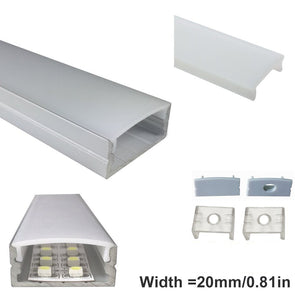 iCreating 10mm Deep 23.5mm Wide Surface Mount LED Strip Aluminum Channel,Compatible with PCB Width within 20mm