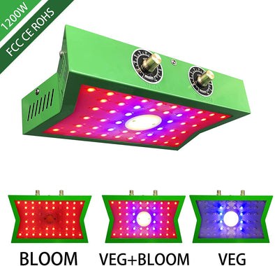1200W COB LED Grow Light, Adjustable Veg&Bloom Switch Full Spectrum Growing Lamps Double Chips for Indoor Plants Hydroponics Greenhouse Fruits Veg and Flowers Growing Light Fixtures