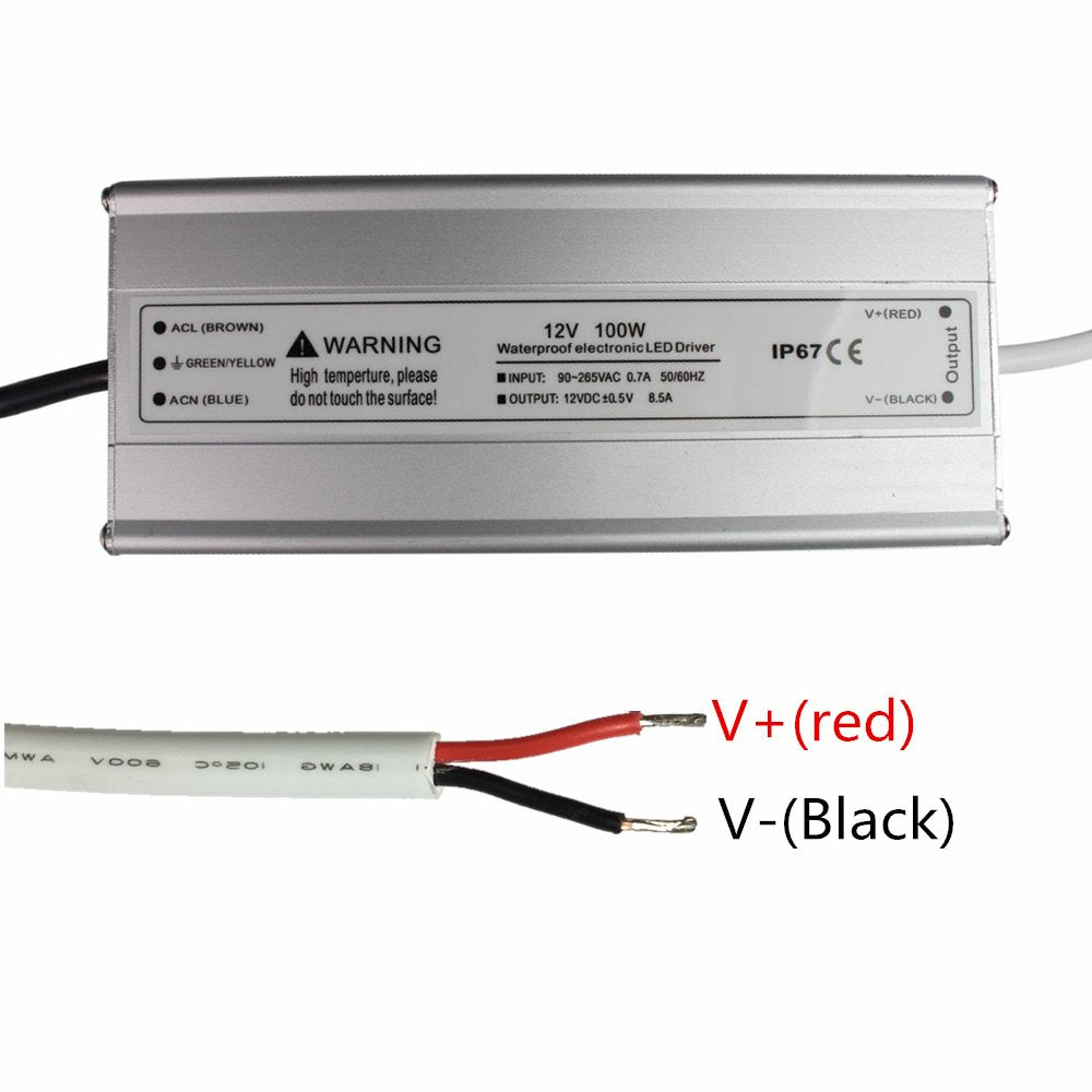 iCreating Waterproof IP67 LED Power Supply Driver Transformer 100W 110V AC  to 12V DC Low Voltage Output with 3-Prong Plug for Outdoor Applicaiton