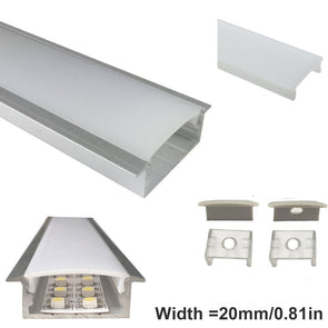 iCreating 10mm Deep Flush Mounting LED Aluminum Channel for LED Strip Lights Compatible with PCB Width within 20mm