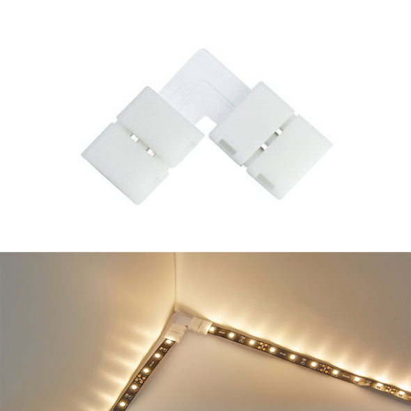 5050 2 Pin LED Strip Light Connector Kit - iCreating 10mm LED Connector Kit Includes 10x LED Strip Light Connector Pigtail, 10x Jumper Connector, 10x L Shape Connectors, 2x DC Connector, 2x Gapless Connectors