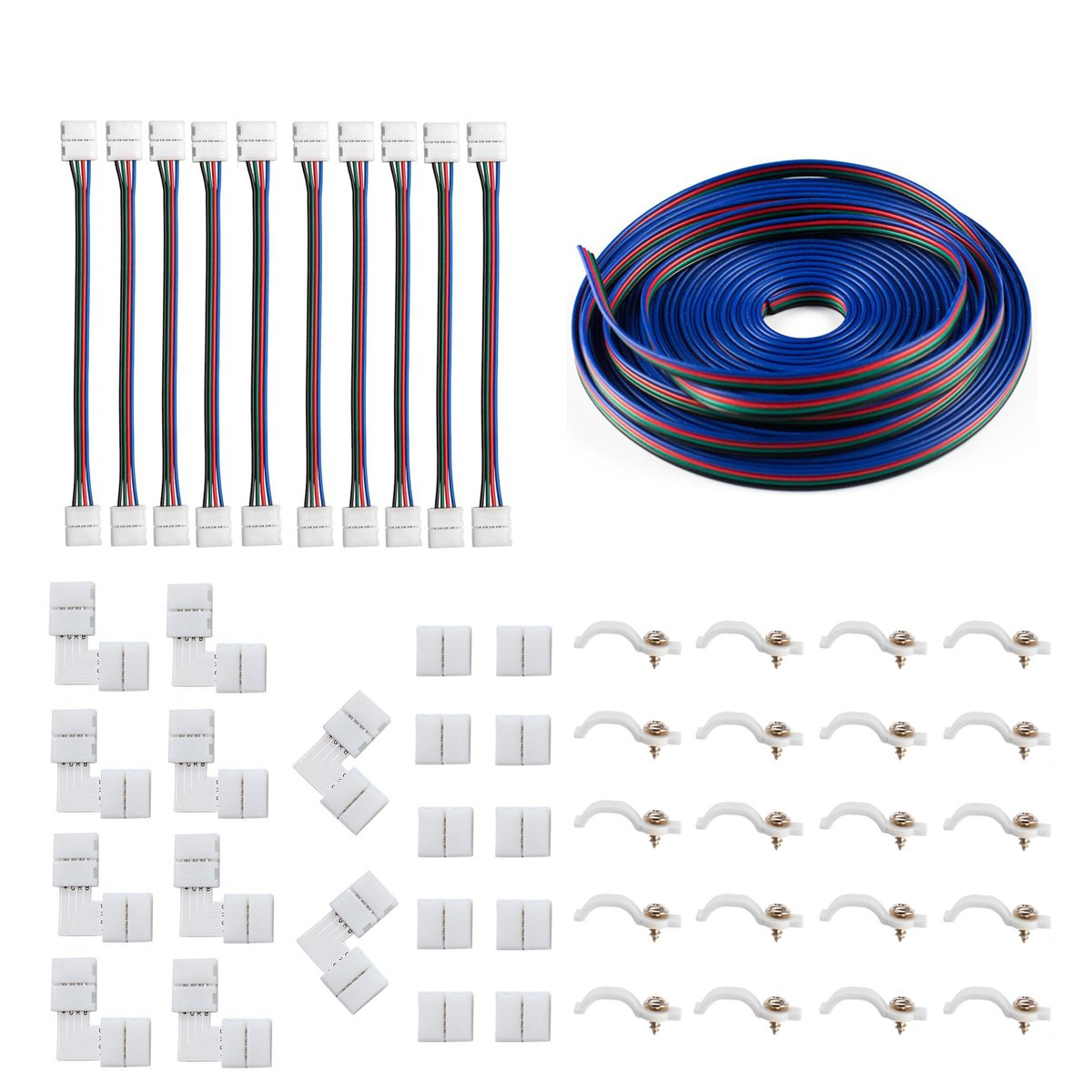 5050 4Pin LED Strip Connector Kit - iCreating 10mm RGB LED Connector Kit  includes 32 8FT RGB Extension Cable, 10x LED Strip Jumper, 10x L Shape