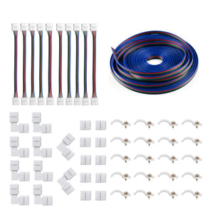 5050 4Pin LED Strip Connector Kit - iCreating 10mm RGB LED Connector Kit includes 32.8FT RGB Extension Cable, 10x LED Strip Jumper, 10x L Shape Connectors, 10x Gapless Connectors, 20x LED Strip Clips