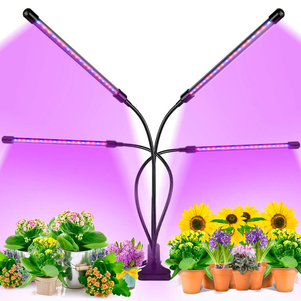 LED Grow Light, 80W 4 Head Timing 80 LED 9 Dimmable Levels Plant Grow Lights for Indoor Plants with Red Blue Spectrum, Adjustable Gooseneck, 3 9 12H Timer, 3 Switch Modes