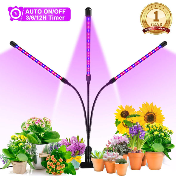 LED Grow Light, 60W Tri Head Timing 60 LED 5 Dimmable Levels Plant Grow Lights for Indoor Plants with Red Blue Spectrum, Adjustable Gooseneck, 3 6 12H Timer, 3 Switch Modes