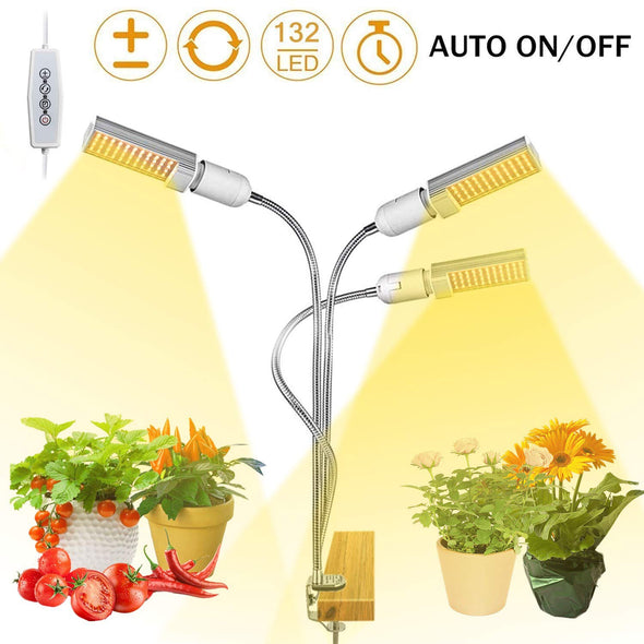 Full Spectrum LED Grow Lights for Indoor Plant, 3 Heads Timing Function Grow Lamp Auto On/Off with 3/6/12H Timer 5 Dimmable Levels 3 Switch Modes Adjustable Gooseneck