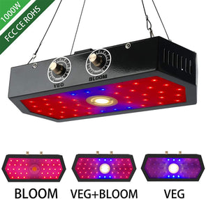 1000w LED Grow Light for Indoor Plants with Adjustable Full Spectrum Double Switch Light Driver Full Spectrum Plants Lights Indoor Veg Flower Growing Greenhouse Plant Growing COB Lamps