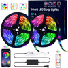 Bluetooth 32.8ft RGB LED Strip Lights Music Sync LED Tape Light 300 LEDs SMD5050 Waterproof Color Changing with 24Key Remote Control Decoration for Home TV Party - APP Controlled
