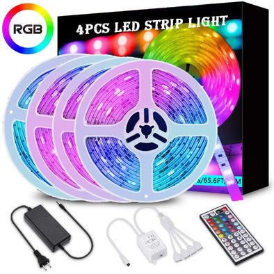 65.6ft RGB LED Strip Lights, RGB LED Light Strip Kit 5050 LED Tape Lights, Color Changing LED Strip Lights with Remote for Home Lighting Kitchen Bed Flexible Strip Lights for Bar Home Decoration