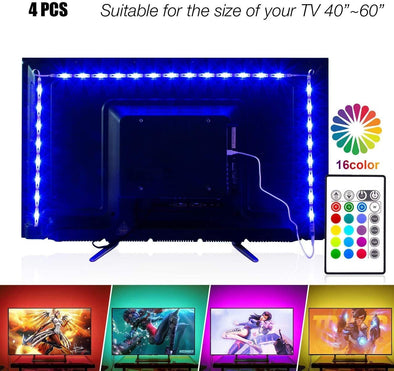 TV LED Strip Lights 6.56ft for 40-60in TV, USB Behind TV LED Lighting Kit with Remote, 16 Color Changing 5050 LEDs TV Bias Lighting Back Lighting for HDTV