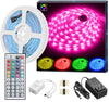 16.4ft RGB LED Strip Lights Kit, RGB LED Light Strip 5050 LED Tape Lights, Color Changing LED Strip Lights with Remote for Home Lighting Kitchen Bed Flexible Strip Lights for Bar Home Decoration