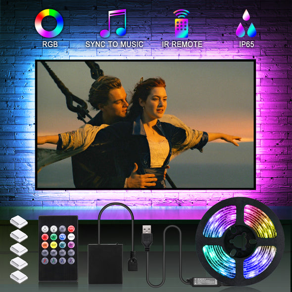 Music Sync LED Strip Lights Battery Powered - iCreating 6.6FT/2M RGB Music Sync LED Light Strip with IR Remote Color Changing 5050 LED Tape Lights for Party, Home, Bedroom, Kitchen DIY Decoration