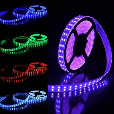 Double Row 5050 RGB LED Strip Light - iCreating 2020 New Design 16.4ft  DC 12V SMD5050 Color Change Flexible LED Strip Lights with 600 LEDs