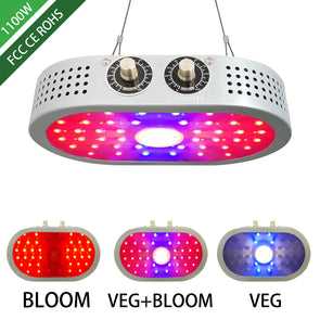 COB LED Grow Light 1100W with Adjustable Knobs, Indoor Full Spectrum Panel Growing Lamp Suitable for Greenhouse Seedling Veg and Flower(Dual-Chips, 10W LEDs)