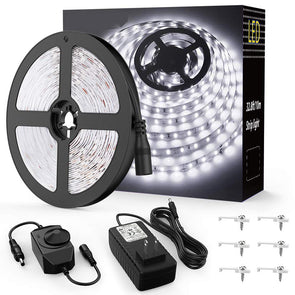 16.4ft Dimmable LED Strip Lights Kit, 300 Units 2835 LED Rope Light, 12V Under Cabinet Lighting Strips, 5M LED Ribbon light, Non-Waterproof LED Tape Light, Warm White